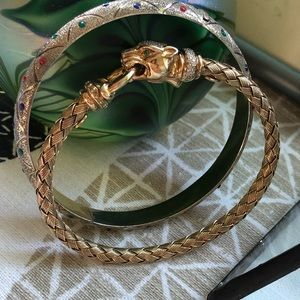 Gold Plated Sterling Silver 925 Bangle Multi Stone